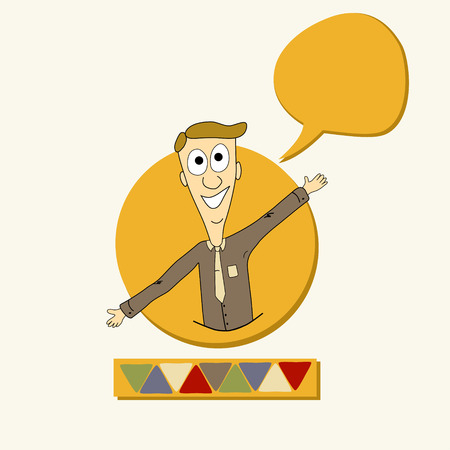 Card with man and speech bubble Vector