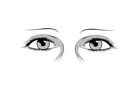 black and white image: Illustration of eyes on white background