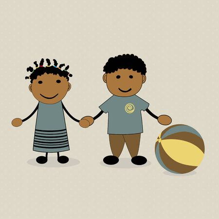 two friends: Two cute kids with a ball Illustration