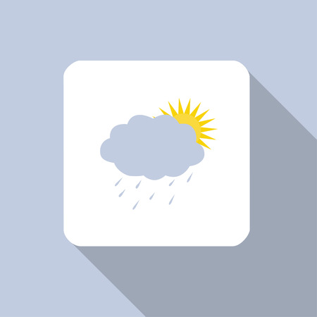 nebulous: Sun and cloud with raindrops icon flat long shadow