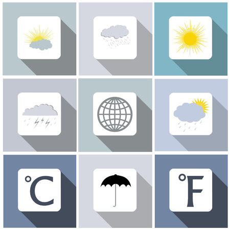 Weather icon set with long shadow Illustration