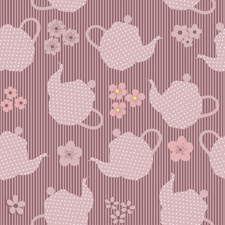 kettles: Seamless pattern with kettles and flowers