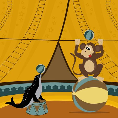 monkey clip: Circus show illustration with monkey and seal Illustration