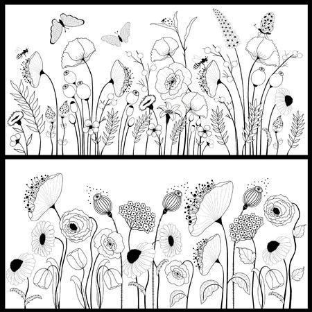 Állítsa be a virág bannerek fehér és fekete színben Illusztráció