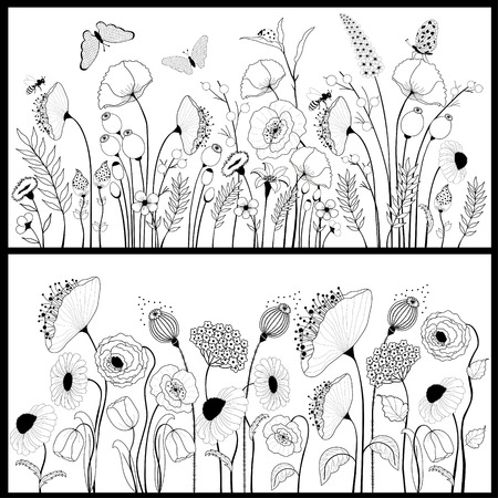 Set of floral banners in white and black Stock Illustratie