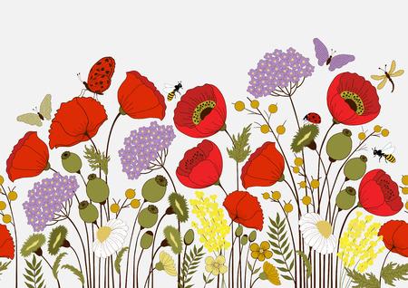 cartoon mariposa: Patr�n sin fisuras con flores y mariposas