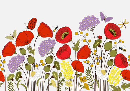 papillon dessin: Seamless pattern de fleurs et de papillons