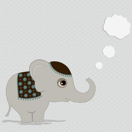 indian elephant: Elefante indio lindo con la burbuja del pensamiento