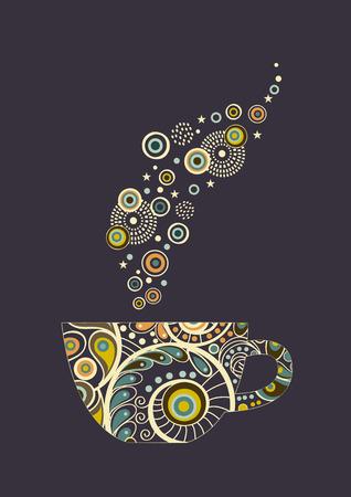 taza de te: Tarjeta con la taza abstracta ornamental