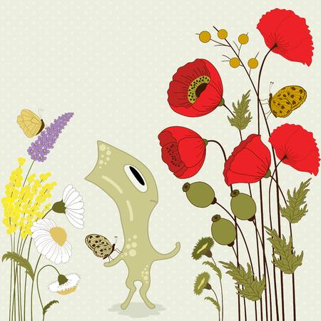 cartoon monster: Cute cartoon monster with flowers and butterflies