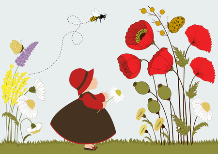 little insect: Cute girl in garden with flowers and insects