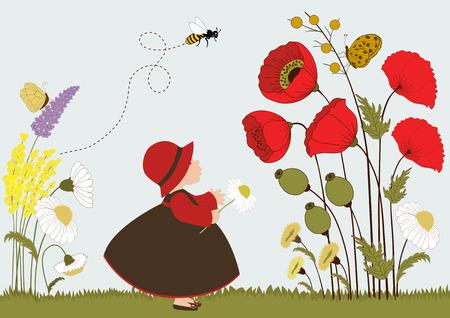 kinderen: Schattig meisje in de tuin met bloemen en insecten