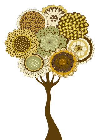 Card with stylized tree on white background Illustration