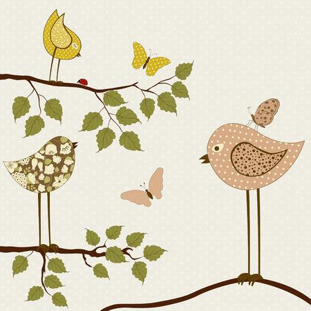 beige stof: Cute birds on branch on beige background Stock Illustratie