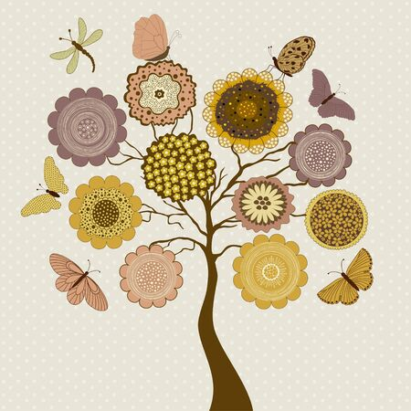 pink brown: Card with stylized tree and butterflies on beige background