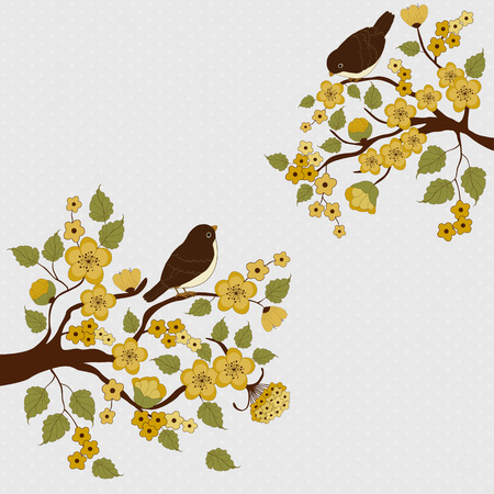 Card with cute birds on branches with flowers and place for text 일러스트
