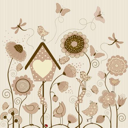 cartoon ladybug: Stylized flowers with birds and butterflies