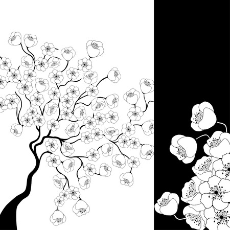 black branch: Greeting card with elegance tree with flowers and place for text Illustration