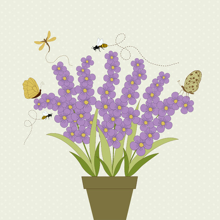 mauve: Cute mauve flowers and insects Illustration