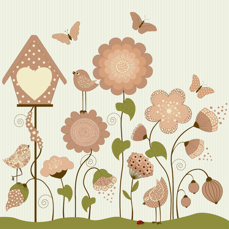 greeting stylized: Greeting card with stylized flowers, birds and butterfly