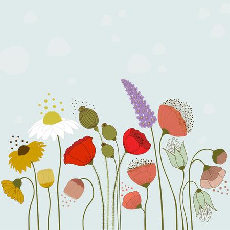 primavera: Flores de primavera en el fondo azul