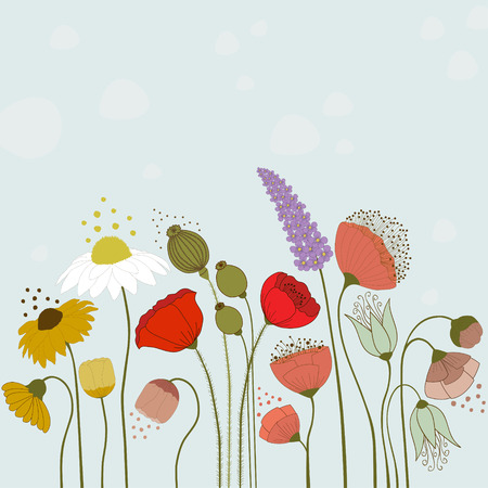 yellow flower: Spring flowers on blue background Illustration