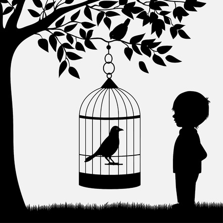 black branch: Bird cage with bird hanging from branch and boy
