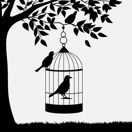 tree leaves: Bird cage with birds hanging from branch Illustration