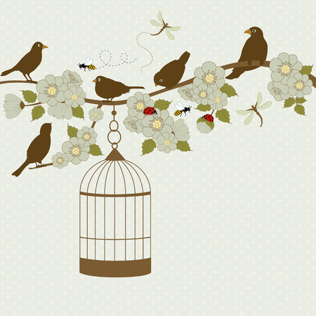 Card with bird cage hanging from floral branch and place for text Vector