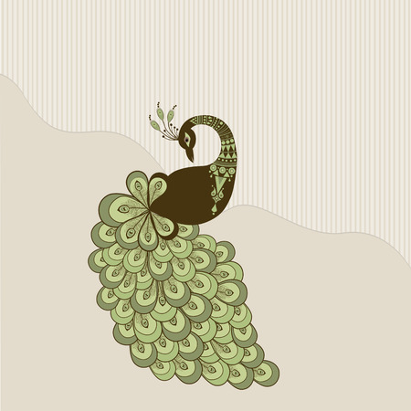 peacock: Card with stylized peacock green color on beige background Illustration