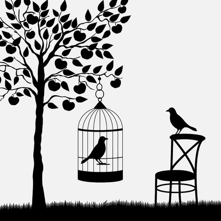 apple orchard: Bird cage with bird hanging from apple tree in garden Illustration