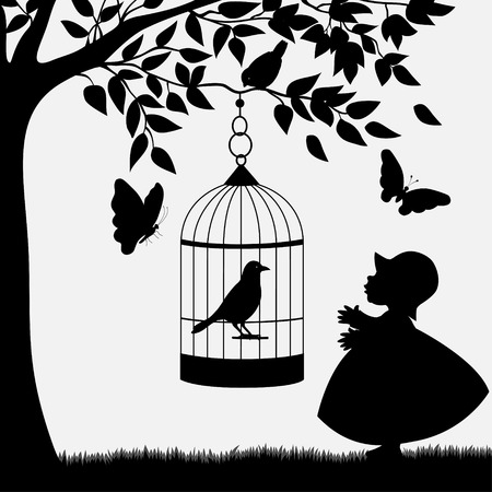 Bird cage with bird hanging from branch and cute girl Vector