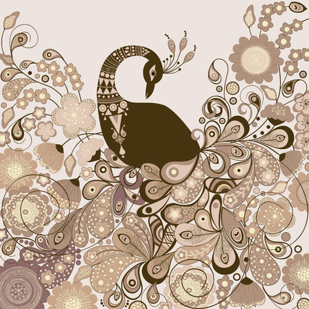 pavo real: Tarjeta con hermoso pavo real estilizado con flores Vectores