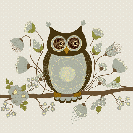 Cute owl on a branch with blue flowers Illustration