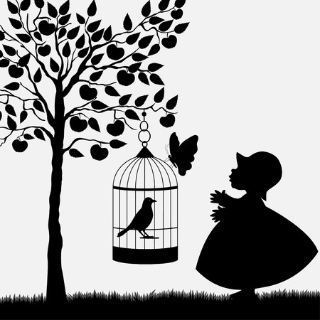 Bird cage hanging from apple tree and cute girl in garden Vector