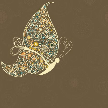 detail invitation: Greeting card with ornamental butterfly and place for text Illustration