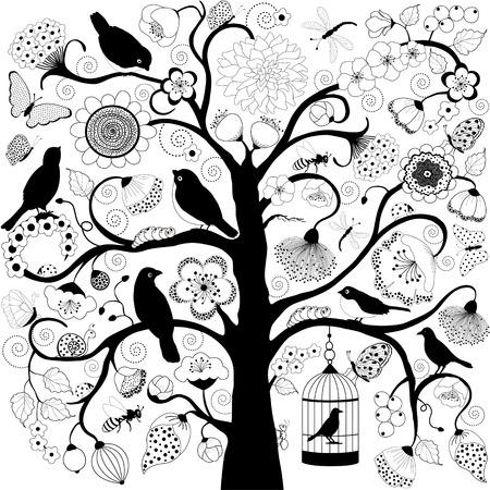 Arbre à fleurs et d'oiseaux et cage à oiseaux suspendus de branche Banque d'images - 41450425