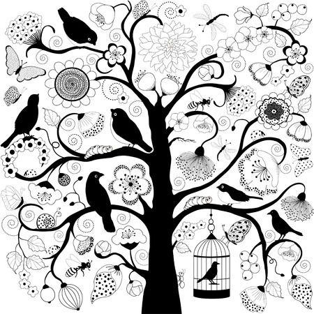 Tree with flowers and birds and bird cage hanging from branch Vector
