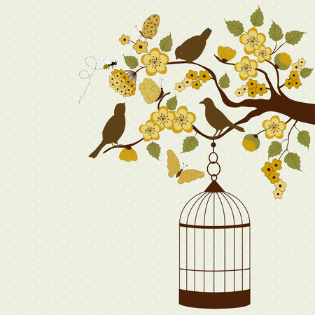 Bird cage hanging from floral branch Vector