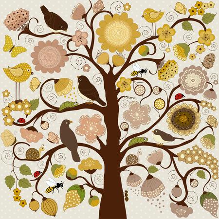 Abstracte gestileerde boom met bloemen en insecten en vogels