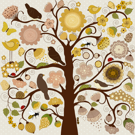 Abstract stylized tree with flowers and insects and birds Illustration