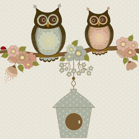 vintage drawing: Cute owls on a branch with flowers and birdhouse
