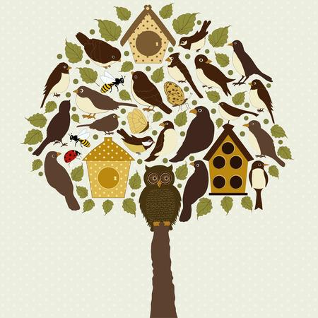 Stylized tree with birds and birdhouse