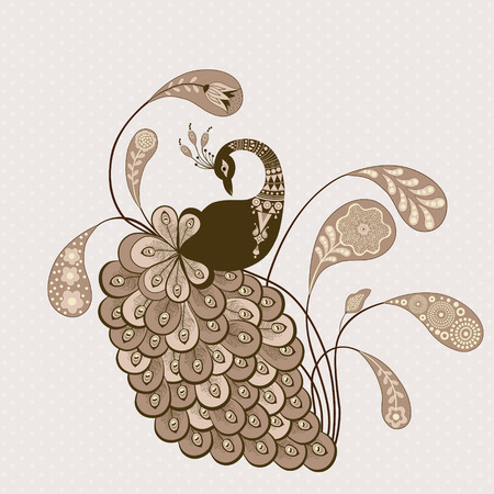 Stylized peacock mauve color on pink background Illustration