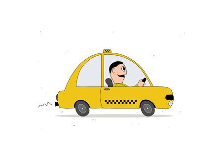 Vehículo taxi amarillo y taxista