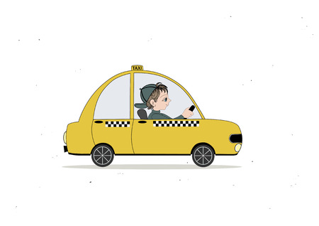 chauffeur: Yellow taxi car and taxi driver