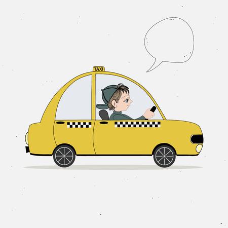 caricatura: Vehículo taxi amarillo y taxista y la burbuja del discurso Vectores