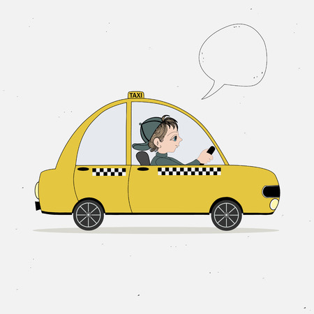 Yellow taxi car and taxi driver and speech bubble