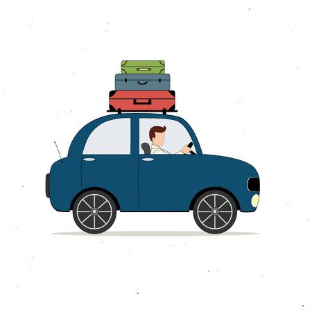 bagagli: Auto blu caricato con i bagagli