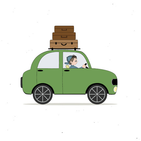 loaded: Green car loaded with luggage